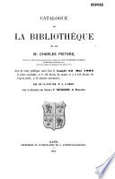 Catalogue de la biblioth  que de M  Charles Pieters