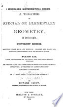 A Treatise on Special Or Elementary Geometry