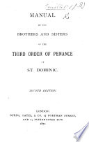 Manual of the Brothers and Sisters of the Third Order of Penance of St  Dominic