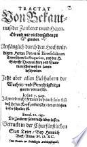 Tractat Von Bekantnuß der Zauberer vnnd Hexen