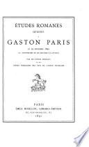 Études romanes dédiées à Gaston Paris