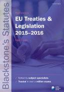 Blackstone's EU Treaties & Legislation 2015-2016
