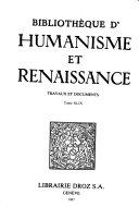 Bibliotheque d humanisme et renaissance