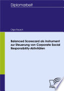 Balanced Scorecard Als Instrument Zur Steuerung Von Corporate Social Responsibility Aktivit Ten