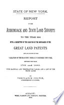 Report on the Adirondack and State Land Surveys to the Year 1884 Book PDF