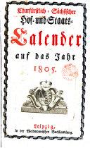 Churfürstlicher sächsischer Hof- und Staats-calender