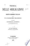 Teoria Delle Obbligazioni Nel Diritto Moderno Italiano book