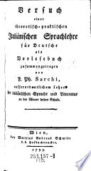 Versuch einer theoretisch-praktischen Italiänischen Sprachlehre für Deutsche