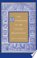The Universities of the Italian Renaissance