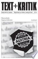 TEXT+KRITIK Sonderband - Österreichische Gegenwartsliteratur