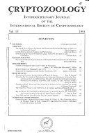 Cryptozoology Interdisciplinary Journal of the International Society of Cryptozoology