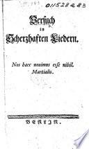 Versuch In Scherzhaften Liedern By J W L Gleim