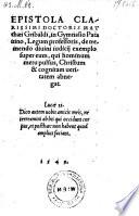 Epistola de tremendo divini judicij exemplo super cum  qui hominum metu pulsus Christum et cognitam veritatem abnegat