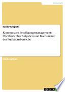 Kommunales Beteiligungsmanagement: Überblick über Aufgaben und Instrumente der Funktionsbereiche