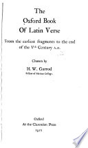 The Oxford book of Latin verse