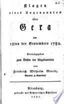 Klagen eines Ungenannten über Gera am 18. des Septembers 1780