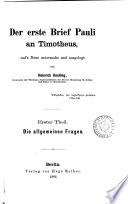 Der erste Brief Pauli an Timotheus