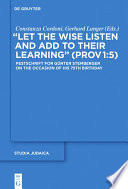 Let the Wise Listen and add to Their Learning   Prov 1 5