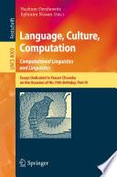 Language  Culture  Computation  Computational Linguistics and Linguistics