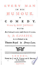 illustration Every Man in His Humour, a Comedy ... with Alterations and Additions by David Garrick