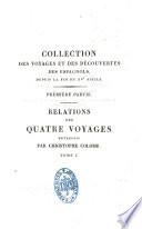 illustration du livre Relations des quatre voyages entrepris par Christophe Colomb pour la découverte du nouveau monde de 1492 à1504
