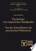 Psychologie vom empirischen Standpunkt  Von der Klassifikation psychischer Ph  nomene