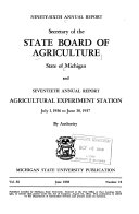 Annual Report of the Secretary of the State Board of Agriculture and Annual Report of the Experiment Station Book PDF