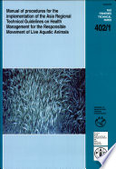 Manual of Procedures for the Implementation of the Asia Regional Technical Guidelines on Health Management for the Responsible Movement of Live Aquatic Animals