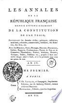 Les Annales De La R  publique Fran  aise Depuis L   tablissement De La Constitution De L An Trois