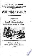 M. Erich Laxmann's Predigers bey deutschen Gemeine zu Barnaul, auf den kolywanischen Bergwerken in Sibirien sibirische Briefe