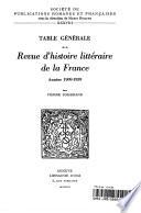 Table g  n  rale de la Revue d histoire litt  raire de la France