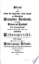 Abdruck des zwischen des Herzogs zu Würtemberg Durchl. und gesamten Prälaten und Landschaft d. Herz. ... 1770 abgeschlossenen Erbvergleichs