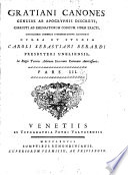 Gratiani canones  illustr  opera et studio C S  Berardi  3 pt   in 4