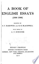 A Book of English Essays  1600 1900