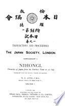 Transactions and Proceedings of the Japan Society, London