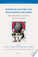 Joseph de Maistre and His European Readers
