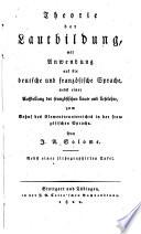 Theorie der Lautbildung mit Anwendung auf die deutsche und franz  sische Sprache