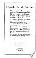 Standards of Practice Covering the Training of Motorcycle Repairmen and Drivers and the Maintenance of Motorcycles in Military Service