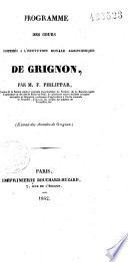 Programme des cours professés à l'Institution Royale Agronomique de Grignon