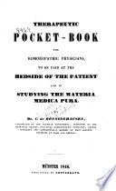 Therapeutic Pocket book for Homoeopathic Physicians