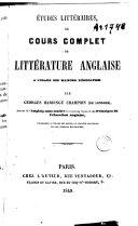 Book Études littéraires ou cours complet de littérature anglaise