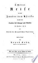 Reise in das Innere von Afrika nach den Quellen des Senegal und Gambia im Jahre 1818