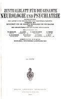 Zentralblatt f  r die Gesamte Neurologie und Psychiatrie