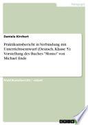Praktikumsbericht in Verbindung mit Unterrichtsentwurf (Deutsch, Klasse 5): Vorstellung des Buches