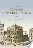 History Of Oxford University Press Volume I book