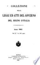 Collezione delle leggi ed atti del governo del regno d'Italia
