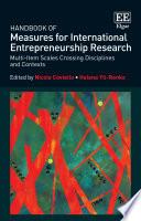 Handbook of Measures for International Entrepreneurship Research