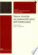 Nuove ricerche sui manoscritti greci dell Ambrosiana