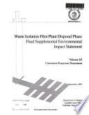 Waste Isolation Pilot Plant Disposal Phase, Disposal of Transuranic Waste, Carlsbad