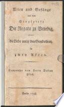 Arien und Ges  nge aus dem Singspiele Die Regata zu Venedig  oder  die Liebe unter den Gondoliren